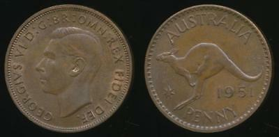 Australia, 1951(pl) One Penny, 1d, George VI - Uncirculated
