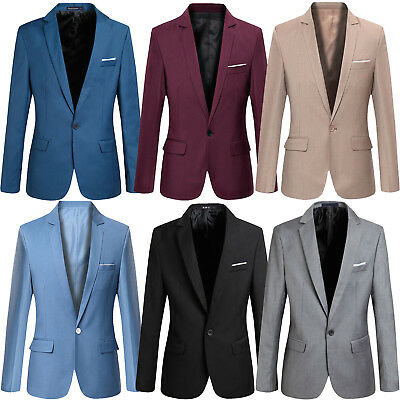 Mens Slim Fit Stylish One Button Suit Blazer Jackets Korean Style Business Coats