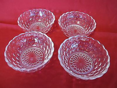 """Set Of 4 Clear Glass Anchor Hocking Bubble Pattern 4 3/8"""" Berry Bowls"""