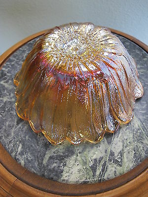 Marigold Carnival Glass Candy Dish Bowl Sunflower or Daisy 7 3/8 inches