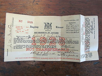 1928 Ontario Canada Fishing Angling License NON-RESIDENT Canadian
