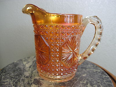 Imperial Glass Amelia or Star Medallion Iridized Carnival Glass Marigold Pitcher