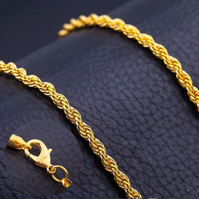 6MM 20'' 18K Yellow Gold Plated Twisted Wrest Rope Chain Necklace Mens Jewelry