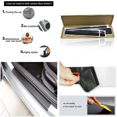 Universal Car Door Sill Scuff Threshold Carbon Fiber Style Protect Sticker Decal