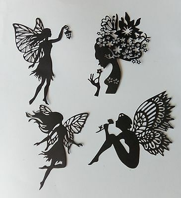 die cut outs fairy black  card x 12              3 of each design