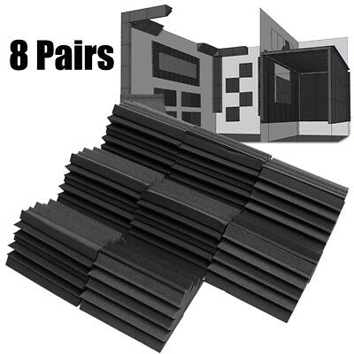"8 Pairs 4.7x4.3x 9.45 "" Corner Bass Trap Acoustic Studio Soundproof Foam Black"