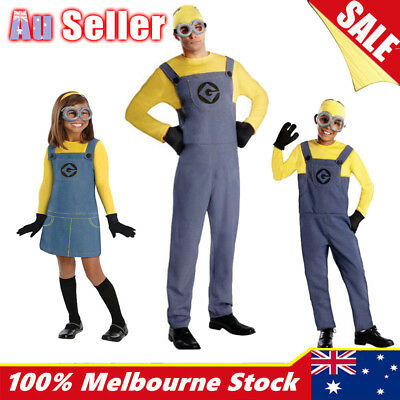 Minion Costume Fancy Dress Despicable Me Boys Girls Adult Men Kids Mens Man