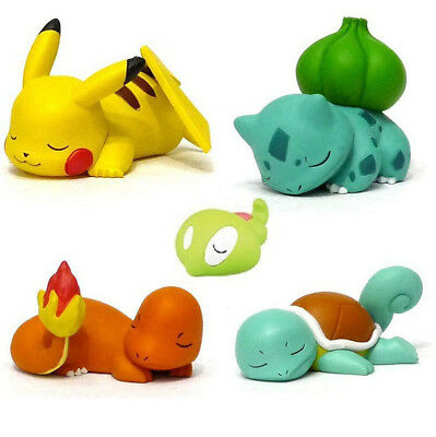 Pokemon Bulbasaur Squirtle Pikachu Sleeping Desk Figure Toys Xmas Car Decoration