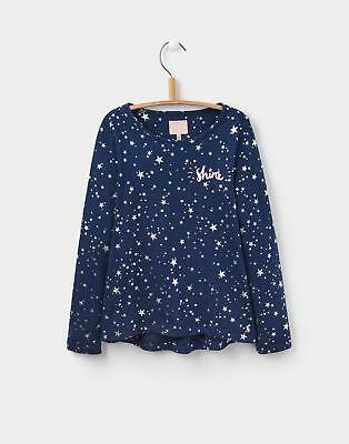 Joules Girls Raya Slub Long-Sleeved Jersey Top Size 3 12 Years in Star