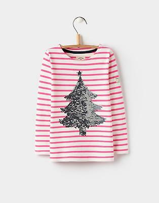 Joules Harbour Luxe Jersey Top Shirt 3 12yr in Pink Stripe Tree