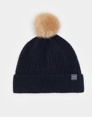 Joules 124505 Womens Bobble Knitted Beanie in Navy One Size
