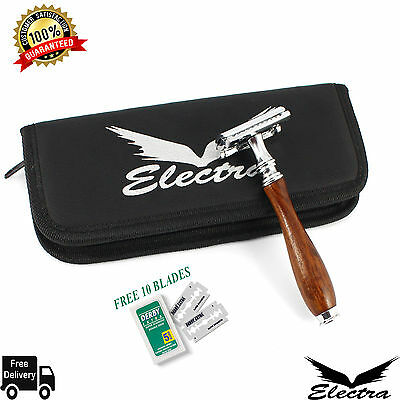 Dark Wood Men Safety Razor Double Edge Razors 10 Free Blades & Pouch travel kit