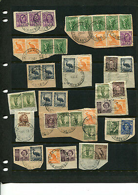 Australia Stamp Collection 1950's Cancelled In Papua New Guinea Various On Piece
