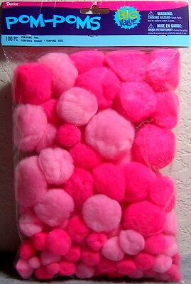 Darice Big Value 100 pc Pack: Pom Poms in Assorted Sizes - Pinks /Breast Cancer