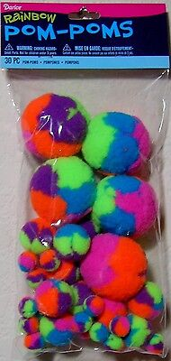"""Darice Rainbow Pom-Poms: 30 pc Pack in Assorted Sizes 2"""", 1"""" & 1/2"""" Neon Colors!"""