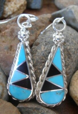Sterling Silver 925 Zuni Turquoise Onyx inlay earrings Native American Indian