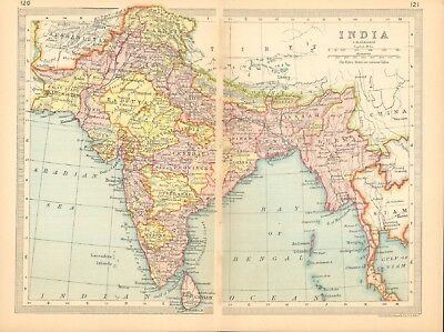 1930  Small Vintage Map -  India