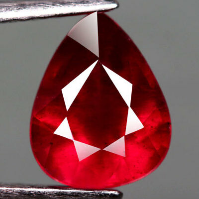 2.26Ct.captivating! Pear Facet Top Blood Red Natural Ruby Madagascar