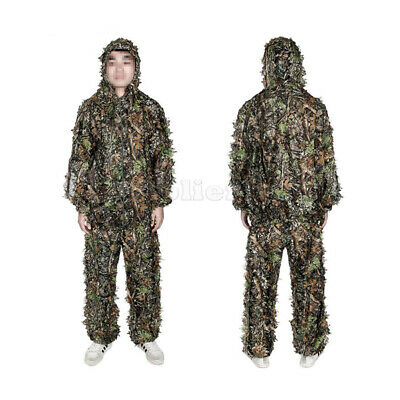Ghillie Suit 5pcs Woodland Camouflage Hunting Archery Sniper Clothing Size M