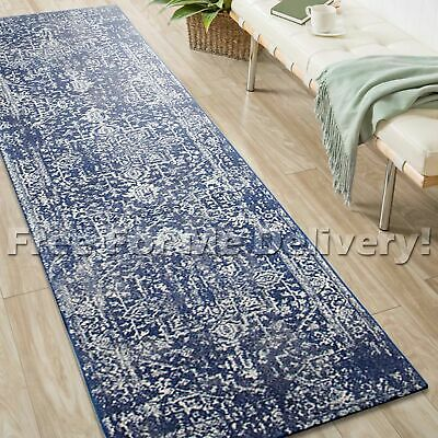 SULIS MEDALLION NAVY BLUE TRADITIONAL RUG RUNNER (M) 80x300cm **FREE DELIVERY**