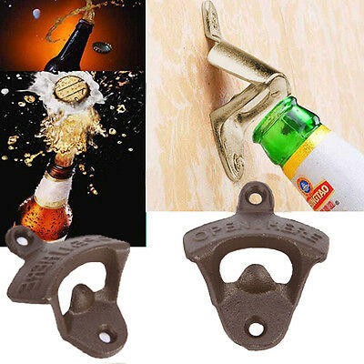 Cast Iron Retro Vintage Style Collectable Wall Mounted Holder Beer Bottle Opener