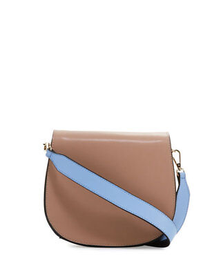 KC Jagger Eliza Leather Saddle Bag BEIGE/BLUE