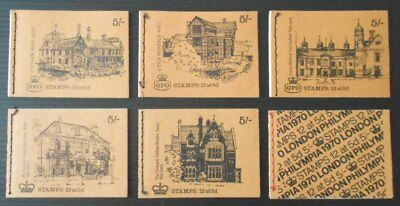 GB 5s booklets x6 - 1968-70 predecimal Machins - HP26-35 all mint & complete