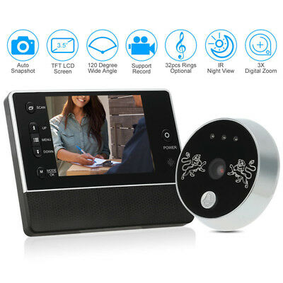 Digital Door Peephole Viewer LCD Security Camera Monitor Video Record Night View