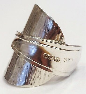 Solid 925 sterling silver hallmarked vintage 1927 spoon ring SIZE N O P Q R S
