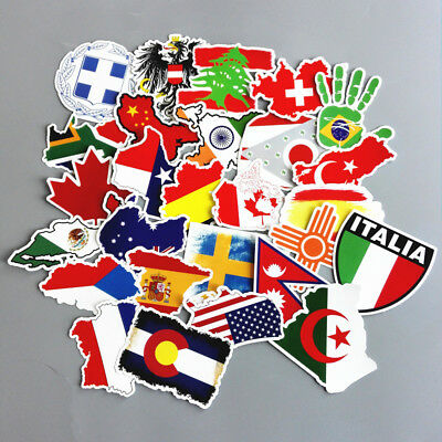 27 Pcs Lot Country Flag Travel Graffiti Luggage Suitcase Laptop Car Stickers