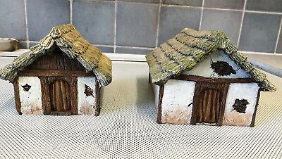 Medieval/ peasant cottages x 2, 28 mm scale resin, painted.