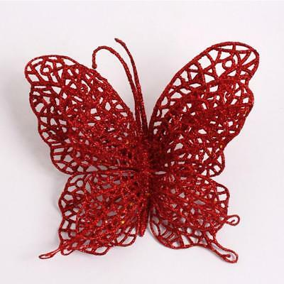 #1 Merry Christmas Glitter Butterfly Hang On Xmas Tree Decor Simple Gifts F