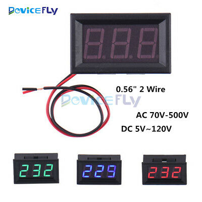 "0.56"" Inch AC70V-500V DC5V~120V Voltmeter Voltage Panel Ammeter Meter LED 2 Wire"