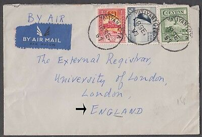 Ceylon 1957 3 Cv On Airmail Cover To University Of London England
