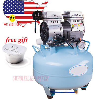us stock  Dental Medical Noiseless Oilless Air Compressor AIR Filter +FREE gift