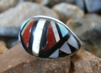 Sterling Silver 925 Zuni ring Turquoise Red Coral Onyx MOP Native American 8.5
