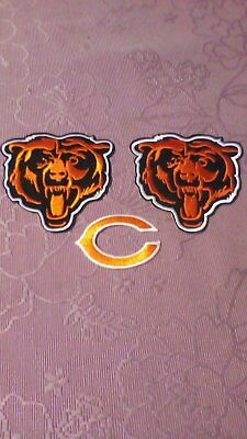 3 X Nfl Chicago Bears Gridiron Iron On/sew On Embroided Patches Badges Jersey