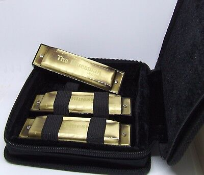 Bluesman Vintage Harmonica boxed set of 3  - keys of C, D, G - starter pack