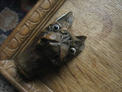 Carved wooden French bull dog walking stick handle victorian glass eyes
