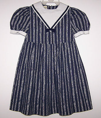 Laura Ashley vintage Mother & Child made in GB, sailor style girls dress 5-6 yrs