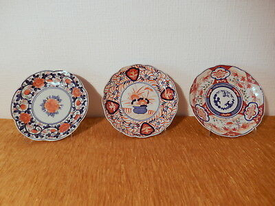 3 plate japanese antique porcelain Imari Japan