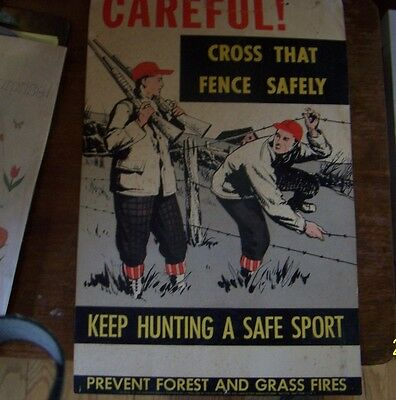 """Vintage Hunting Poster """"CROSS THAT FENCE SAFELY"""""""
