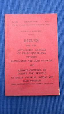 1958 Victorian Railways Rules for the Automatic System of Train Signalling Betwe