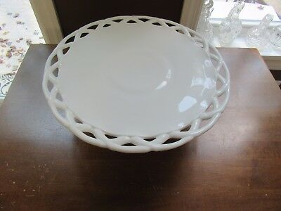 "PITMAN DREITZER COLONY OPEN LACE EDGE OLDER MILK GLASS CAKE STAND 14"" Plate"