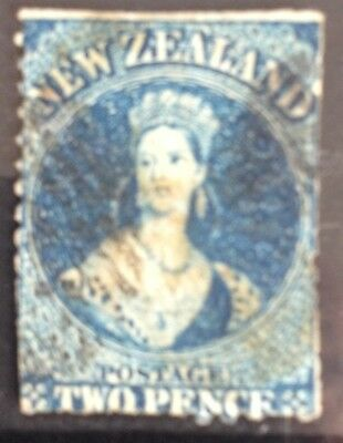 New Zealand Queen Victoria 1862 2d Blue Chalen. Used