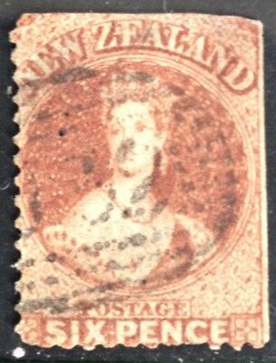 New Zealand 1862 6d Brown Chalet. Used.