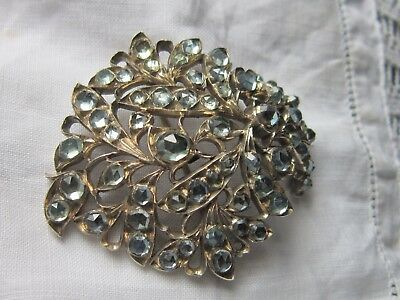 sparkling jargoon solid silver brooch  jewel from the Raj Ceylon