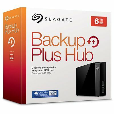 Seagate STEL6000200 Backup Plus HUB 6TB External Desktop Hard Drive HDD in Black
