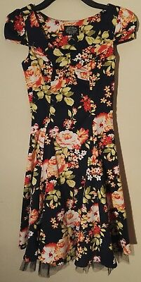 RARE Womens Hearts & Roses floral skater swing 50s Rockabilly Party Dress UK 10