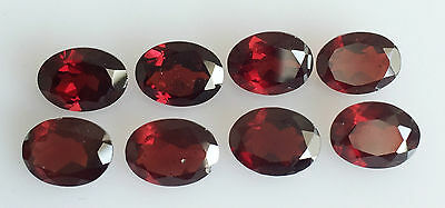 11.12 Ct 8 Pc Natural Orangy Red Garnet Loose Lot Cut Gem Faceted Oval 6 X 8 Mm